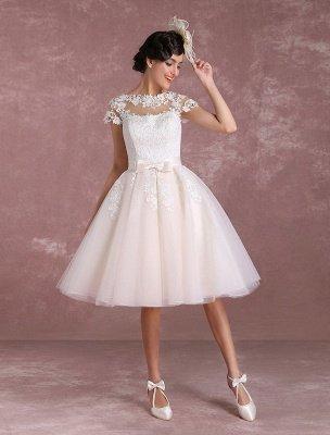 Vestidos de novia vintage Vestido de novia corto con apliques de encaje Vestido de novia con lazo de ilusión Vestido de novia exclusivo_4