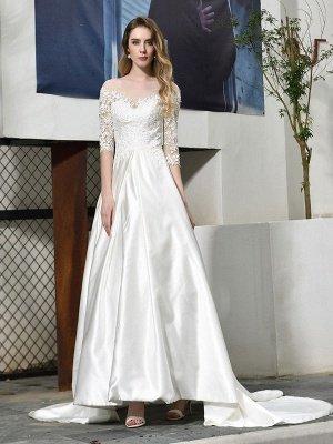 Simple Wedding Dress Jewel Neck Half Sleeves A Line Beaded Bridal Dresses With Train_5