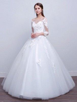 Prinzessin Ballkleid Brautkleider Langarm Spitze Illusion Elfenbein bodenlangen Brautkleid_2