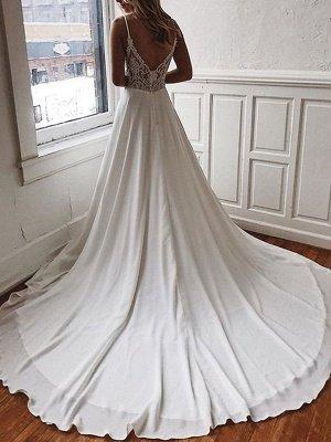 Robe de mariée simple une ligne col en V bretelles sans manches dos dentelle Boho robes de mariée avec train_1