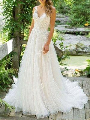 Simple Wedding Dress 2021 A Line V Neck Sleeveless Floor Length Beach Bridal Dresses With Train