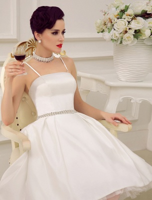 Vintage Spaghetti Straps Backless Satin Short Wedding Dress With Pearls At Waist Exclusive_6