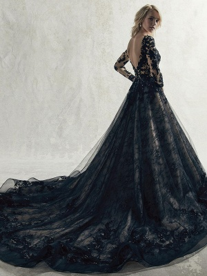 Black Wedding Dresses Lace Princess Silhouette Long Sleeves Natural Waist Lace Court Train Bridal Gown_2
