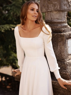 White Simple Wedding Dress Satin Fabric Square Neck Long Sleeves A-Line Floor Length Bridal Gowns_7