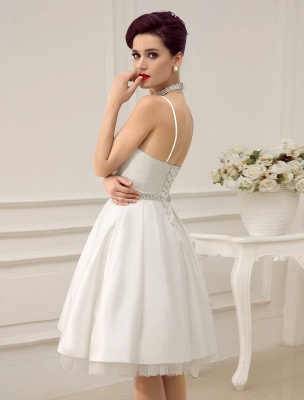 Vintage Spaghetti Straps Backless Satin Short Wedding Dress With Pearls At Waist Exclusive_5