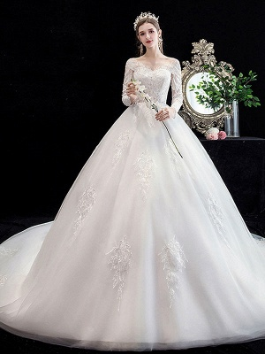 White Wedding Dress Ball Gown Cathedral Train Jewel Neck 3/4 Length Sleeves Natural Waist Applique Satin Fabric Bridal Dresses_1