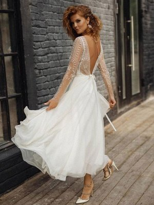 Ivory Wedding Dress Jewel Neck Long Sleeves Backless Lace Bridal Gowns_2