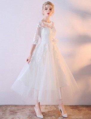 Robes De Mariée Courtes Blanc Demi Manches Dentelle Applique Thé Longueur Robe De Mariée_2