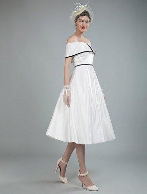 Vintage Wedding Dresses Satin Off The Shoulder A Line Tea Length Short Bridal Gowns Exclusive_9