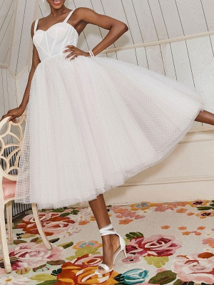 Vestido corto de novia blanco T-Length A-Line Sweetheart Perlas Correas espaguetis Vestido largo hasta el té_6