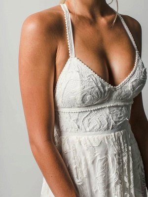 Strandhochzeitskleid mit Kapelle-Schleppe Weiß V-Ausschnitt Ärmellos Rückenfrei Spitze Split Lange Brautkleider_6