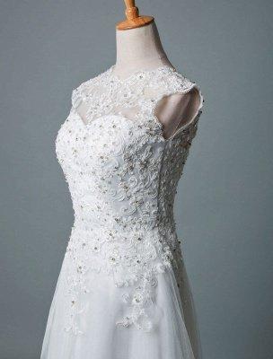 Robe de mariée vintage thé longueur bijou cou sans manches une ligne taille naturelle Tulle courte robe de mariée exclusive_5