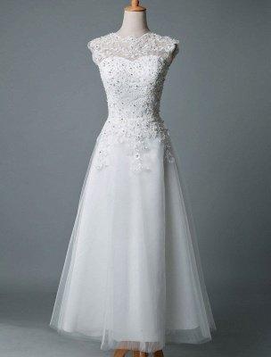 Robe de mariée vintage thé longueur bijou cou sans manches une ligne taille naturelle Tulle courte robe de mariée exclusive_1
