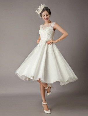 Vintage Wedding Dresses Short Lace Tulle Sequin Tea Length Ivory Bridal Dress_1