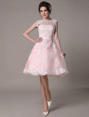 Brautkleid aus Spitze mit Cut-Out Knielang A-Linie Brautkleid mit Satinschleife Exklusiv_2