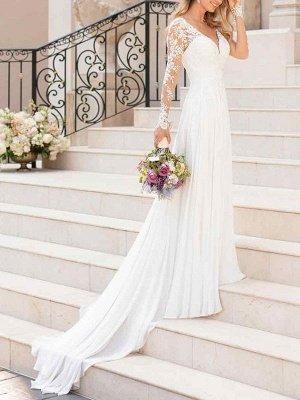 Lace Wedding Dresses 2021 Chiffon V Neck A Line Long Sleeve Lace Applique Beach Wedding Bridal Dress With Train Free Customization_2