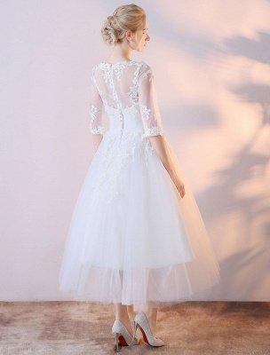 Robes De Mariée Courtes Blanc Demi Manches Dentelle Applique Thé Longueur Robe De Mariée_4