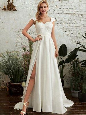 Robes de mariée A-ligne Tribunal Train Bretelles Spaghetti Sans Manches Plissée Col En Coeur Satin Tissu Ivoire Robes De Mariée_1
