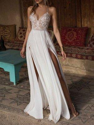 Boho Wedding Dresses 2021 Lace V Neck Sleeveless Beaded Backless Double Splits Chiffon Beach Bridal Gowns_1