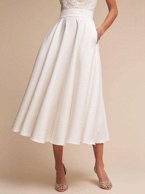 Robe de mariée courte col en V sans manches une ligne longueur de thé bretelles robes de mariée_5