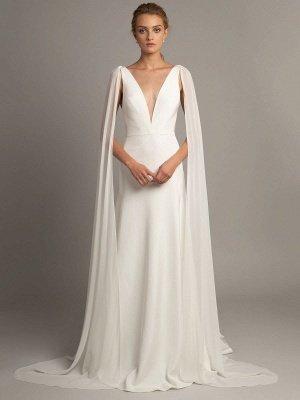 Vestido de novia blanco simple Tela de satén Cuello en V Sin mangas Volantes Una línea Vestidos de novia largos_1
