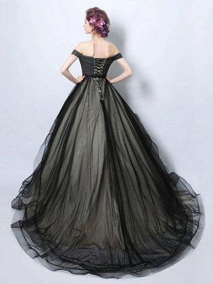 Robes de mariée gothiques fidèles princesse silhouette sans manches plissée tulle tribunal train robe de mariée_2
