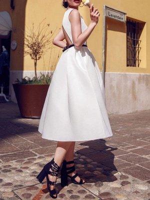 Vintage Wedding Dresses 2021 Bateau Neck Sleeveless Color Stitch The Waist Sash Tea Length Bridal Gowns_2