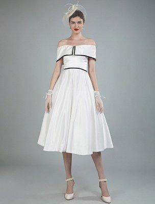 Vintage Wedding Dresses Satin Off The Shoulder A Line Tea Length Short Bridal Gowns Exclusive_7