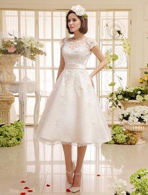 Short Wedding Dresses Ivory Lace Applique Vintage Bridal Dress Illusion Sweetheart Open Back Tea Length Wedding Reception Dresses Exclusive_2