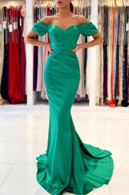 Off the Shoulder Satin Ruffle Slim Mermaid Evening Gown