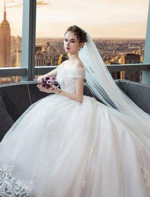Elfenbein Brautkleider Schulterfrei Spitze Perlen Kathedrale Zug Brautkleid_4