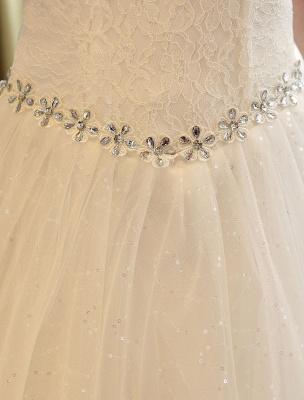 Prinzessin Ballkleid Brautkleider Spitze Pailletten Brautkleid Elfenbein Perlen Schärpe Backless Brautkleider_8
