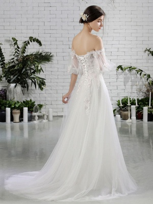 Beach Bridal Dress Ivory Off Shoulder Wedding Gowns Half Sleeve Flowers Beaded Sweetheart Neckline Maxi Wedding Dress For Summer_3