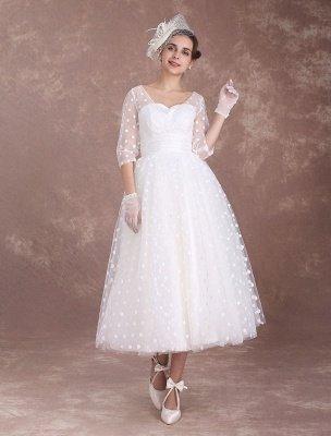 Vintage Wedding Dress Short 1950'S Bridal Dresses Ivory Long Sleeve Open Back Polka Dot Ribbon Sash Wedding Reception Dress Exclusive_4