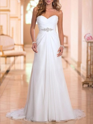 Simple Wedding Dress Sheath Sweetheart Neck Sleeveless Pleated Bridal Dresses With Train_2