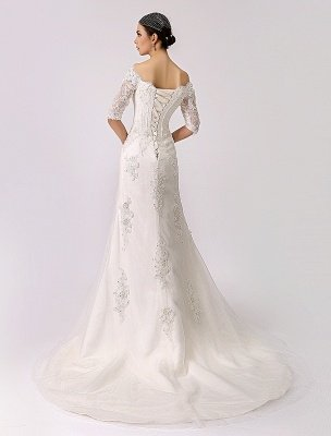 2021 Vintage Inspired Off The Shoulder Mermaid Lace Wedding Gown Exclusive_5