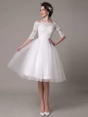 Robes de mariée en dentelle 2021 courtes sur l'épaule une ligne longueur au genou taille strass robe de mariée exclusive_3