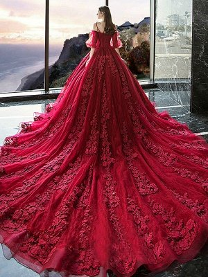 Red Princess Wedding Dresses Tulle Half Sleeves Bridal Gown Applique Evening Party Dresses_2