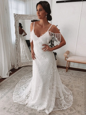 Lace Wedding Dress With Train Ivory A-Line Sleeveless V-Neck Backless Bridal Gowns_3
