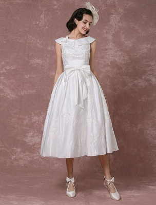 Vintage Wedding Dress Satin Short Bridal Gown Lace Beading Tea Length Reception Bridal Dress Detachable Bow Sash Exclusive_1