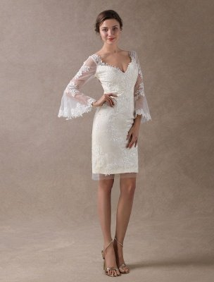 Boho Wedding Dresses Short Sheath Beach Bridal Dress Bell Sleeve Lace Applique V Neck Knee Length Summer Wedding Gowns Exclusive_6
