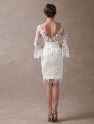 Boho Wedding Dresses Short Sheath Beach Bridal Dress Bell Sleeve Lace Applique V Neck Knee Length Summer Wedding Gowns Exclusive_7