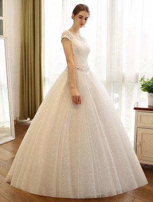 Prinzessin Ballkleid Brautkleider Spitze Pailletten Brautkleid Elfenbein Perlen Schärpe Backless Brautkleider_3