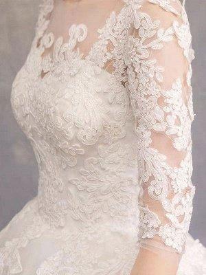 Brautkleider Eric White Jewel Neck Half-Sleeve Soft Tüll Lace Up Bodenlangen Brautkleider_7