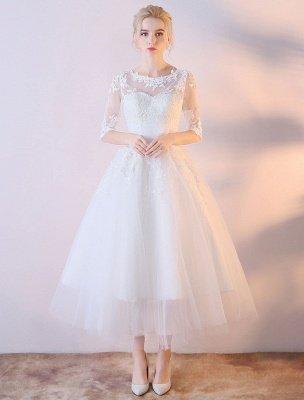 Robes De Mariée Courtes Blanc Demi Manches Dentelle Applique Thé Longueur Robe De Mariée_1