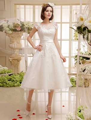 Short Wedding Dresses Ivory Lace Applique Vintage Bridal Dress Illusion Sweetheart Open Back Tea Length Wedding Reception Dresses Exclusive_3