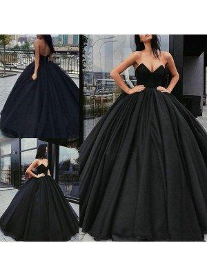 Vestidos de novia negros Tela de satén Princesa Silueta Imperio Cintura Hasta el suelo Vestido de novia_1