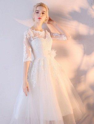 Robes De Mariée Courtes Blanc Demi Manches Dentelle Applique Thé Longueur Robe De Mariée_5