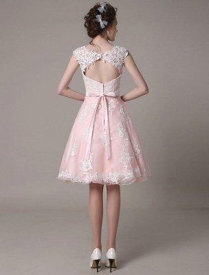 Brautkleid aus Spitze mit Cut-Out Knielang A-Linie Brautkleid mit Satinschleife Exklusiv_7