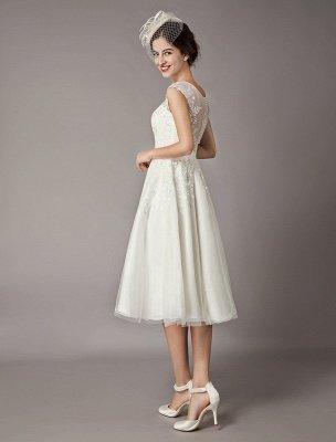 Vintage Wedding Dresses Short Lace Tulle Sequin Tea Length Ivory Bridal Dress_6